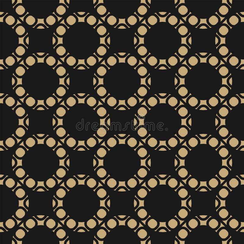 Vector gouden en zwart naadloos patroon met cirkels, ringen, cirkelnetwerk royalty-vrije illustratie