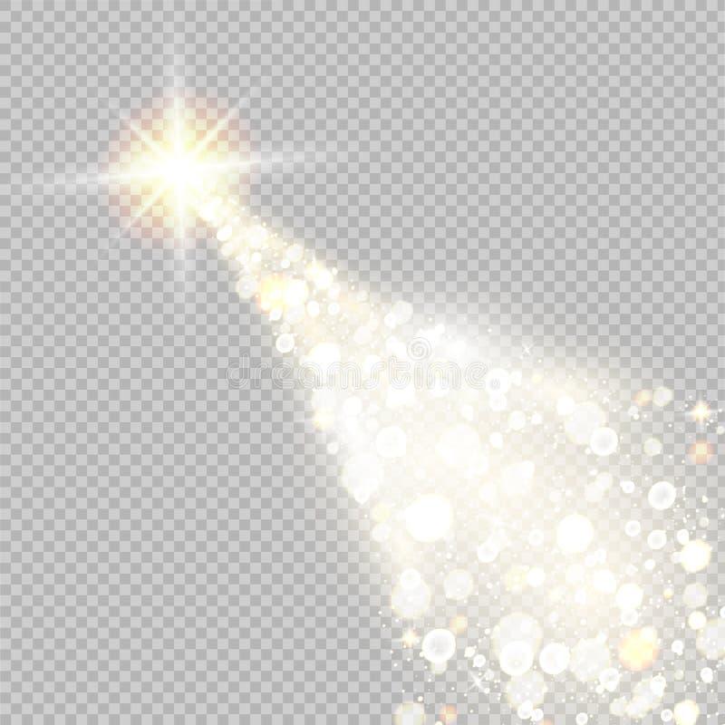 Vector gouden fonkelende dalende ster Vector illustratie vector illustratie