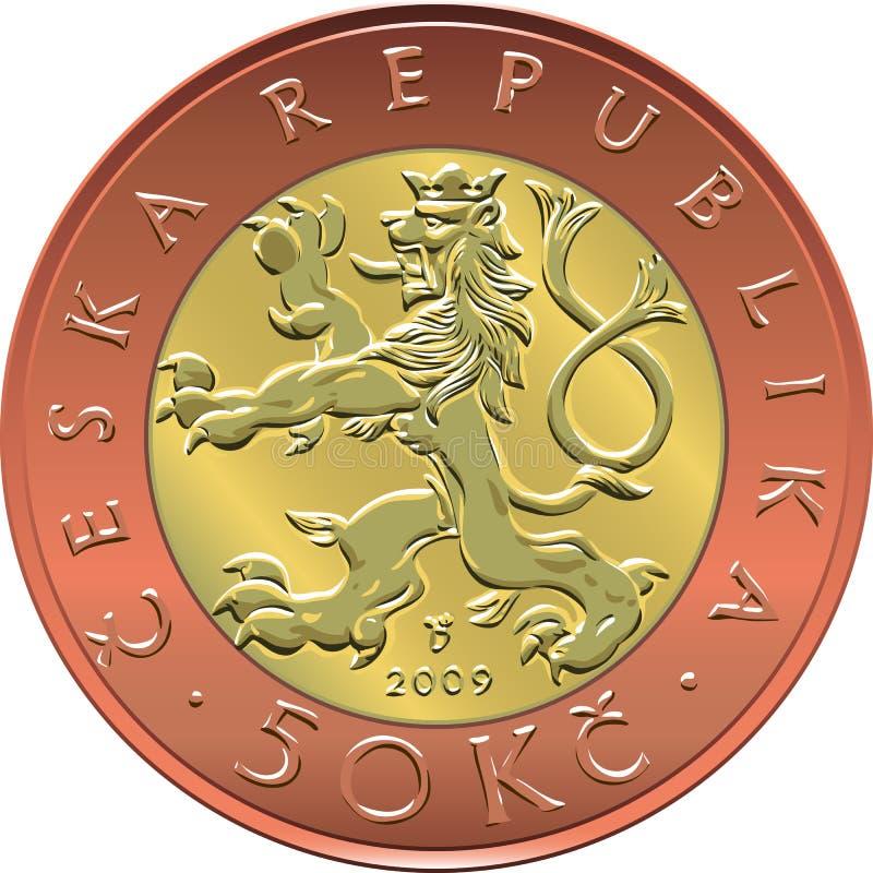 Vector gouden Geld twintig Tsjechisch oude wijvenmuntstuk royalty-vrije illustratie