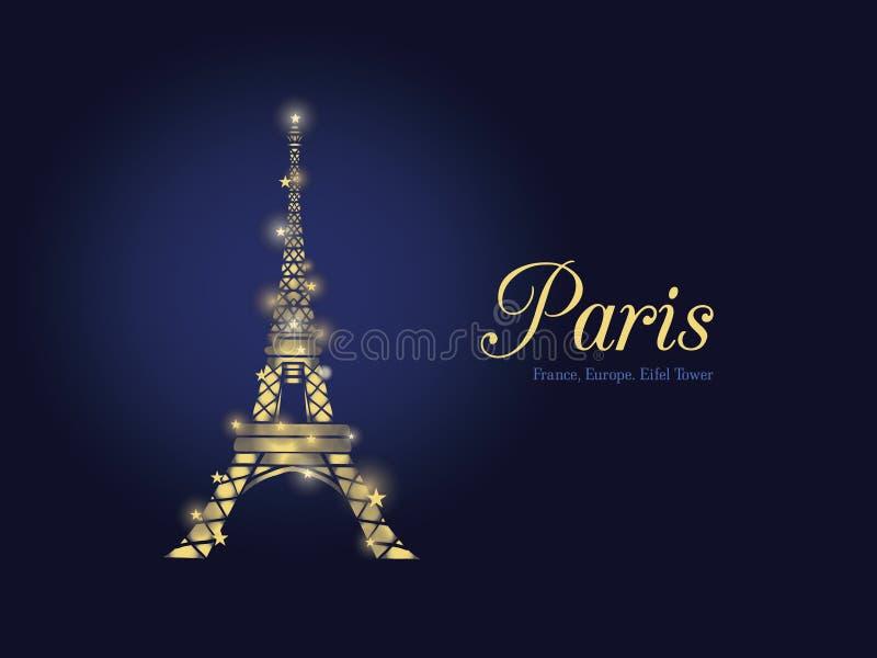Vector Gouden Gloeiende Eifel-Toren in het Silhouet van Parijs bij Nacht Frans Oriëntatiepunt op Donkerblauwe Horizontale Achterg stock illustratie