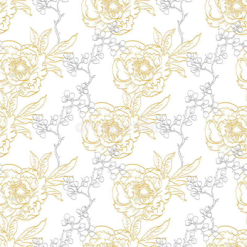 Vector Gouden Gray Drawing Peony Floral Diagonal vector illustratie