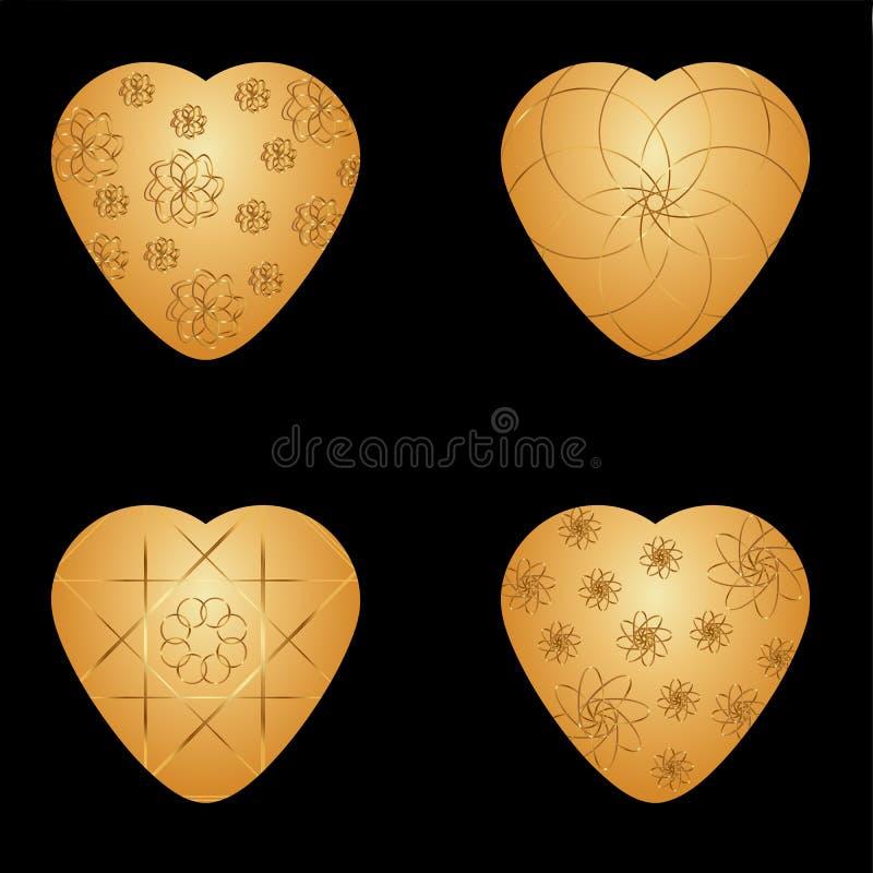 Vector Gouden harten met Gouden grafisch patroon royalty-vrije stock foto