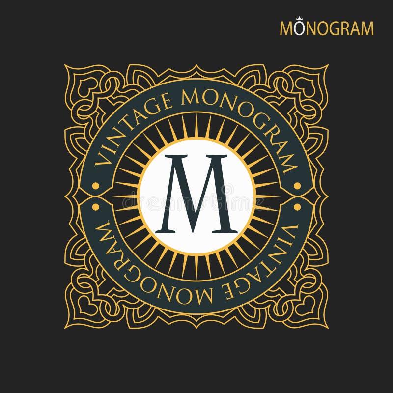 Vector gouden monogram Luxueus decoratief kader stock illustratie