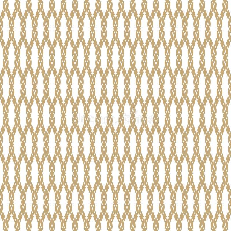 Vector gouden naadloos patroon met netwerk, kabels, visnet, het breien, net, stof royalty-vrije illustratie