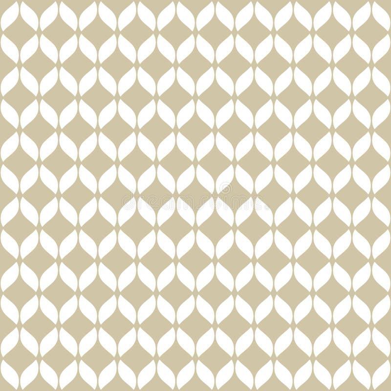 Vector gouden netwerk naadloos patroon Eenvoudige gouden en witte geometrische textuur stock illustratie