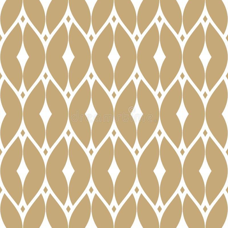 Vector gouden netwerk naadloos patroon Gouden en witte luxeachtergrond stock illustratie