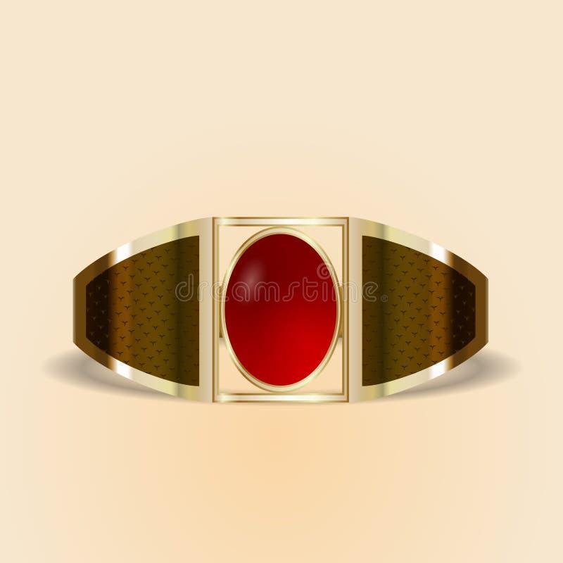 Vector gouden ring met een steen stock afbeelding