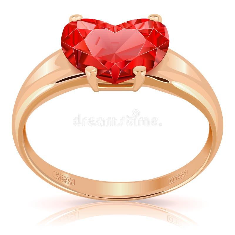 Vector Gouden Ring met Robijn stock illustratie