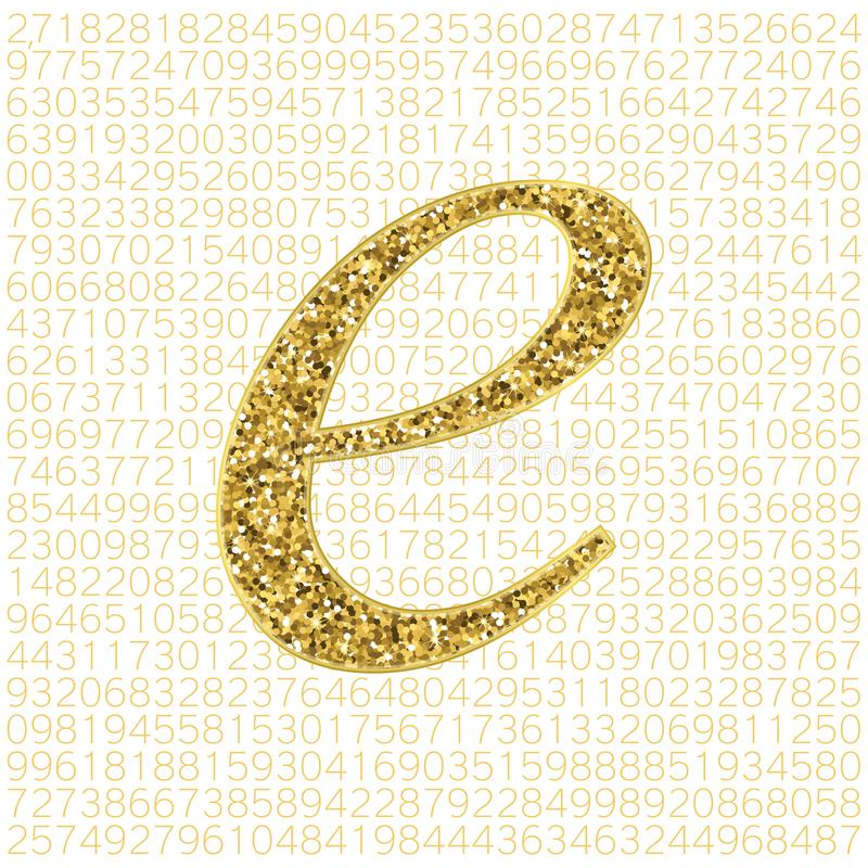Vector gouden schittert het aantal van Euler ` s op een digitale achtergrond Wiskundig constant, decimaal irrationeel aantal, bas vector illustratie