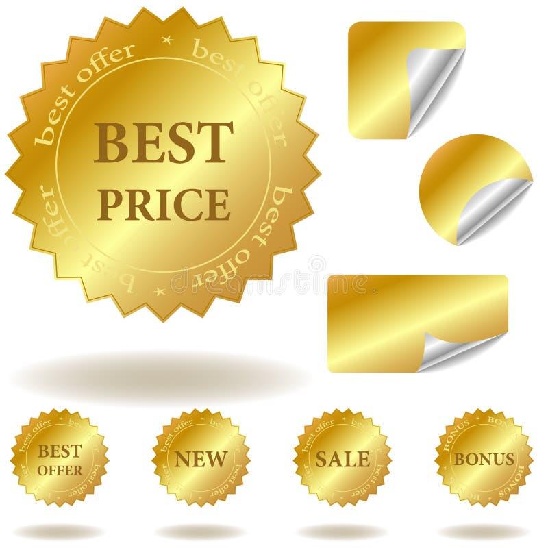 Vector gouden stickers en etiketten royalty-vrije illustratie