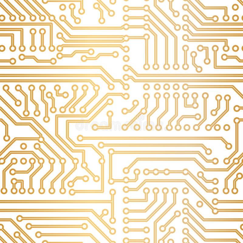Vector gouden technologiepatroon vector illustratie
