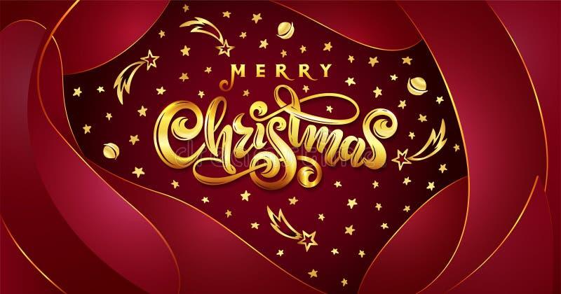 Vector Gouden tekst Vrolijke Kerstmis op rode plastic effect achtergrond met dalende sterren, planeten, kometen, melkwegen royalty-vrije illustratie