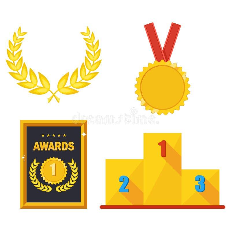 Vector gouden toekenning stock illustratie