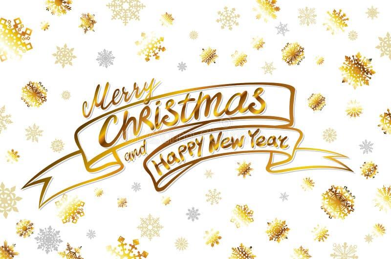 Vector gouden Vrolijke Kerstmis en gelukkige nieuwe jaarkaart De gouden Glanzende Sneeuwvlokken en de Sterren schitteren De Affic royalty-vrije illustratie
