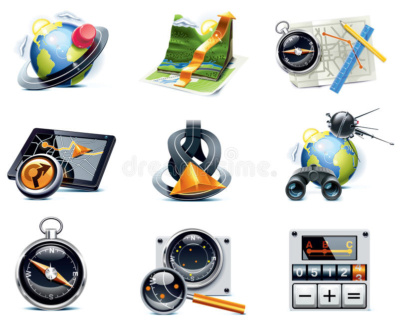 Vector GPS navigation icons. Part 1. Set of the detailed satellite navigation icons royalty free illustration