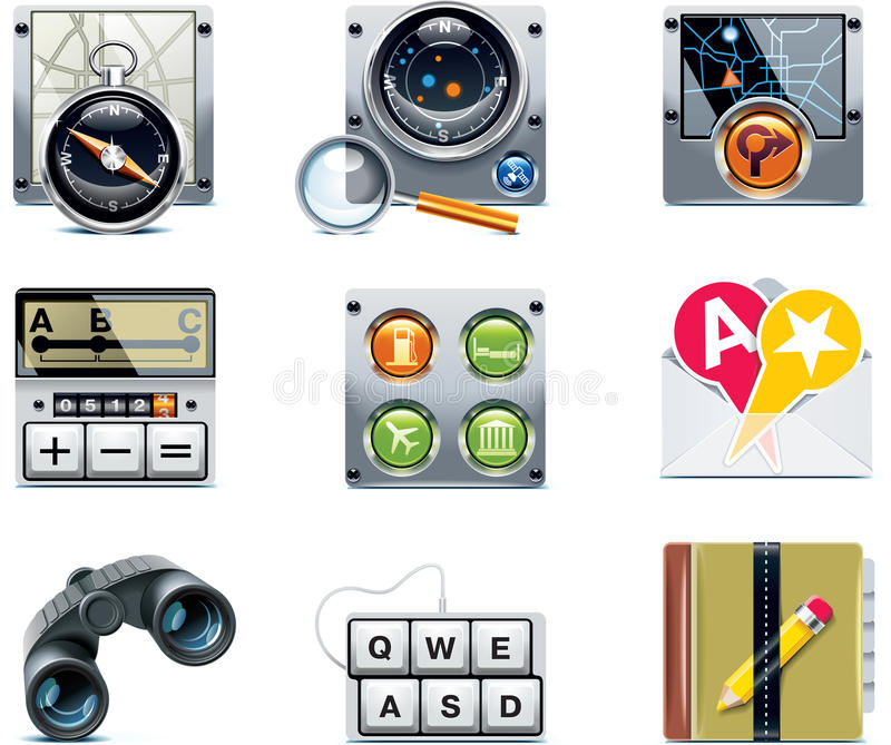 Vector GPS navigation icons. Part 2. Set of the detailed satellite navigation icons royalty free illustration