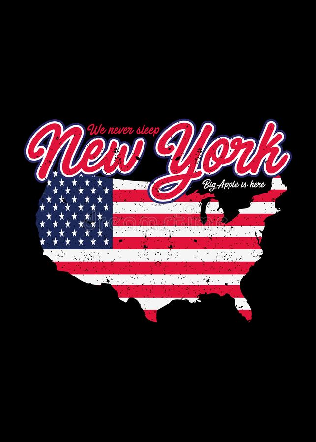 Vector gráfico colorido apenado mapa americano de la camiseta de Nueva York ilustración del vector