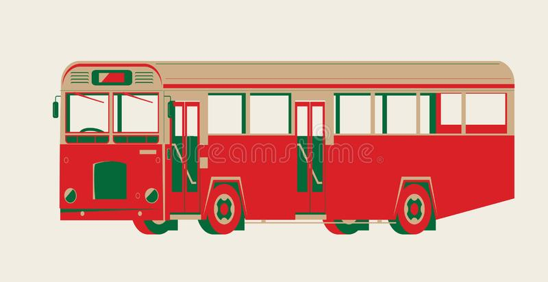 Vector gráfico de un autobús del autobús de un piso del vintage libre illustration