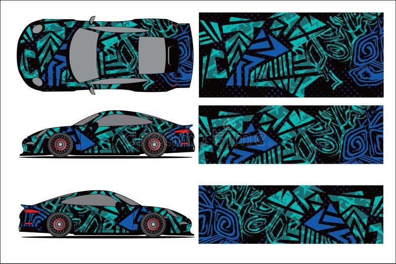 Vector gr?fico del coche, forma que compite con abstracta con el dise?o moderno de la raza para el veh?culo v stock de ilustración