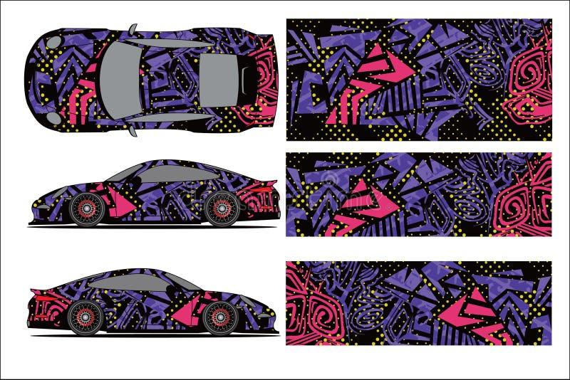 Vector gráfico del coche, forma que compite con abstracta con el diseño moderno de la raza para el vehículo stock de ilustración