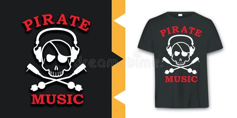 Vector gráfico del diseño de la camiseta de la música del cráneo del pirata stock de ilustración