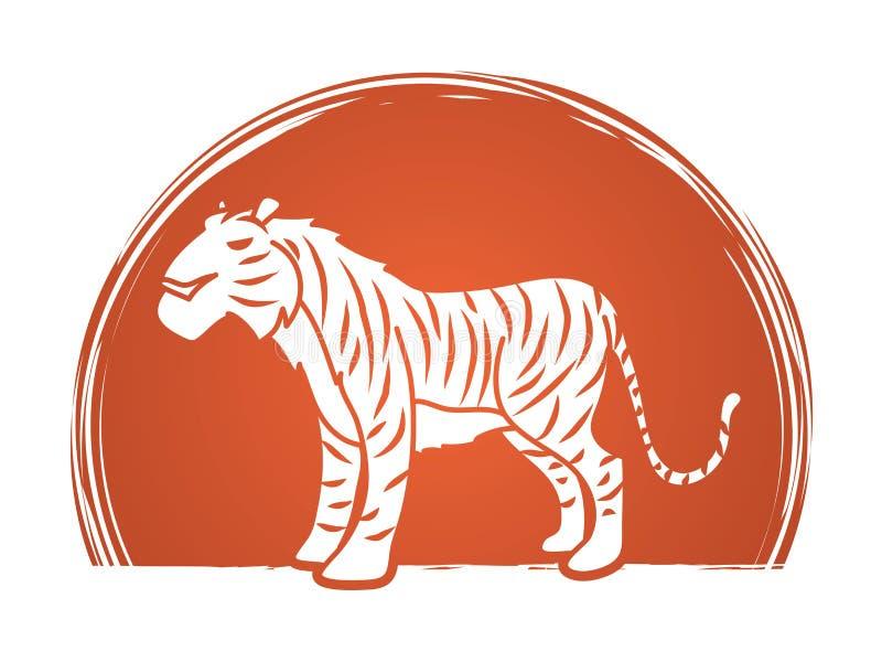 Vector gráfico del logotipo de la historieta del tigre ilustración del vector