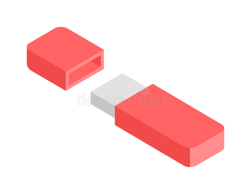 Vector gráfico isométrico plano 3d de memoria USB libre illustration
