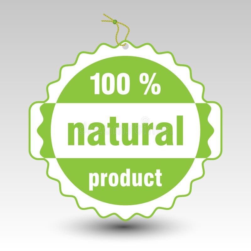 Vector grünen 100% Naturproduktpapier-Preisaufkleber stock abbildung