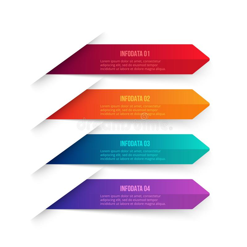 Vector gradient arrows elements for infographic. Business concept with 4 options, parts, steps or processes. stock illustration