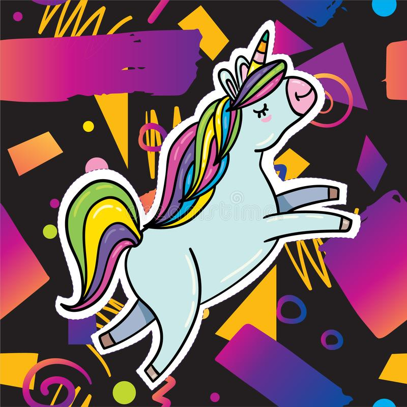 Trendy card design with unicorn vector illustration