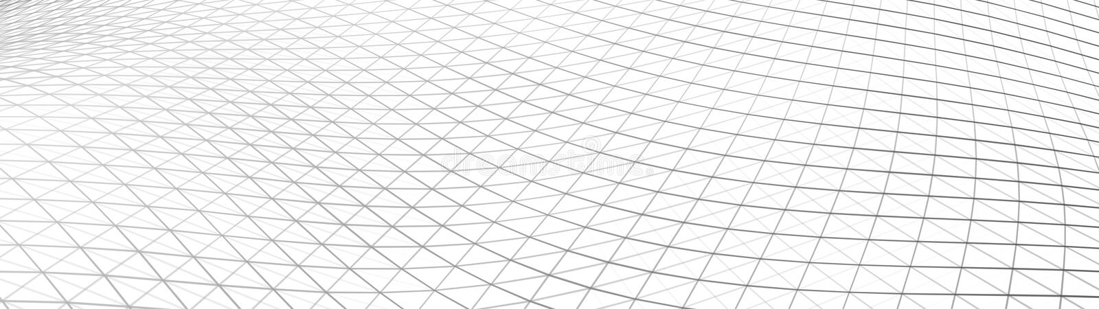 Vector gradient perspective grid. Detailed lines on white background. Widescreen illustration. Vector perspective grid. Lines on white background royalty free illustration