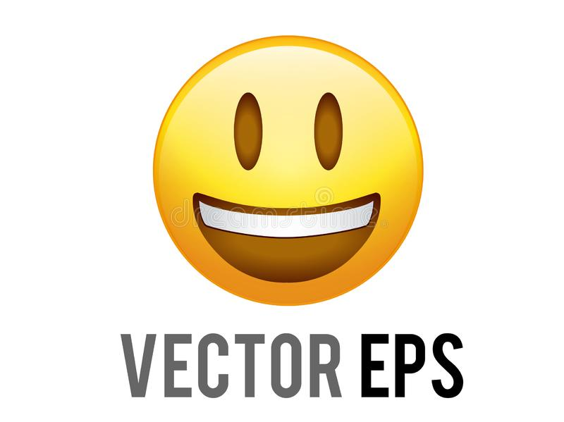 Vector gradient yellow smiley face with white teeth icon. The Isolated vector gradient yellow smiley face with white teeth flat icon royalty free illustration