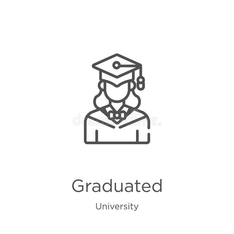 vector graduado del icono de la colección de la universidad Línea fina ejemplo graduado del vector del icono del esquema Esquema, ilustración del vector