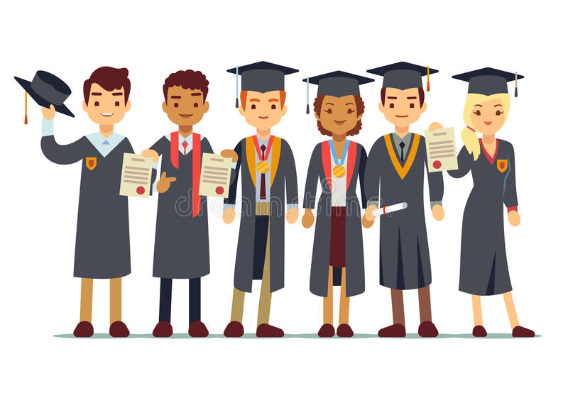 Vector graduation concept with students, college graduate stock illustration