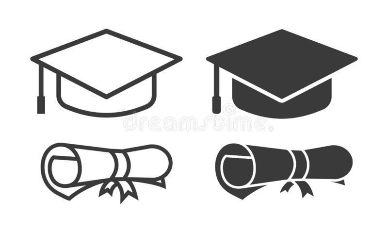 Vector graduation icon outline and glyph style. Vector illustration of vector graduation cap and scroll paper icon eps 10 on white background vector illustration