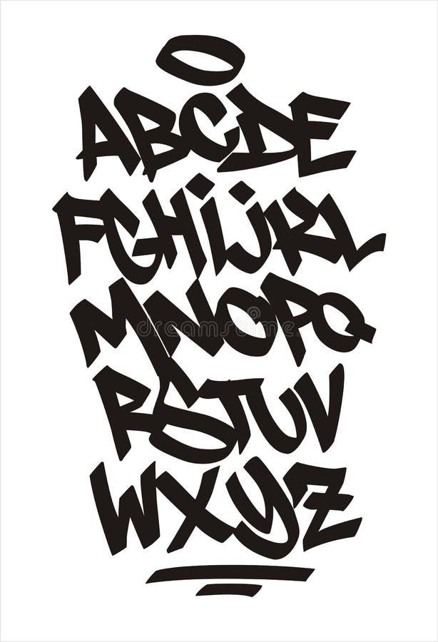 Vector graffiti font. Handwritten alphabet stock illustration
