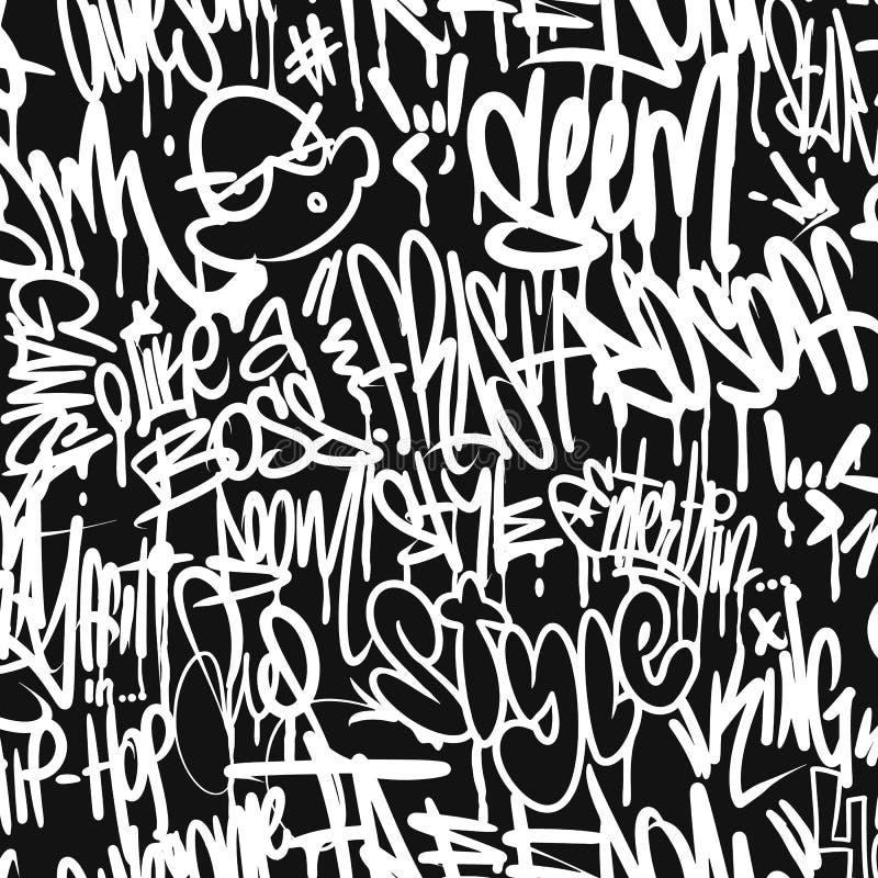 Vector graffiti tags seamless pattern, print design. vector illustration