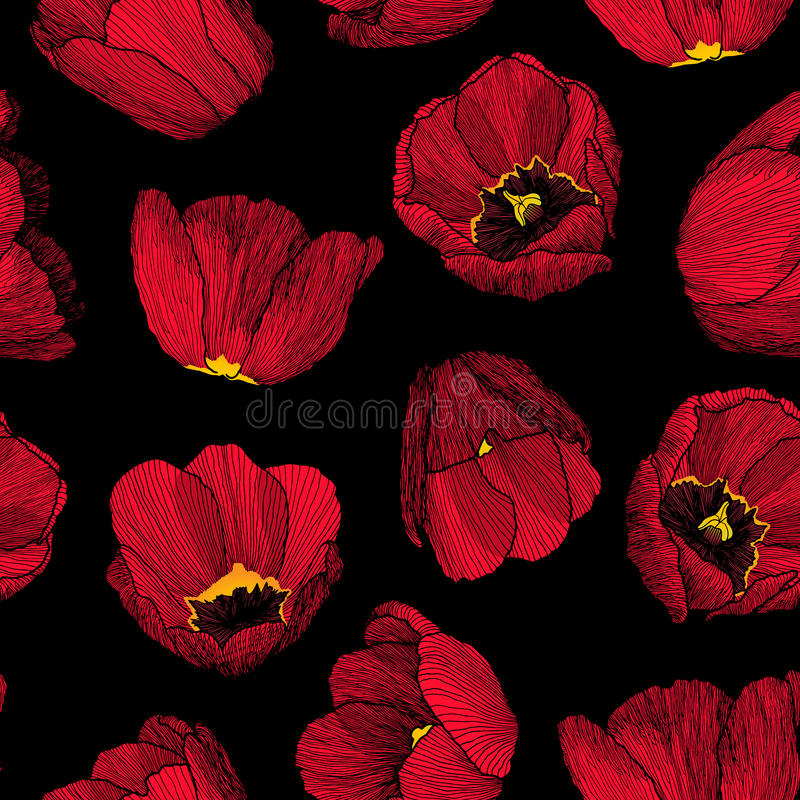 Vector grafisch hand-drawn inkt naadloos patroon van rode tulp royalty-vrije illustratie