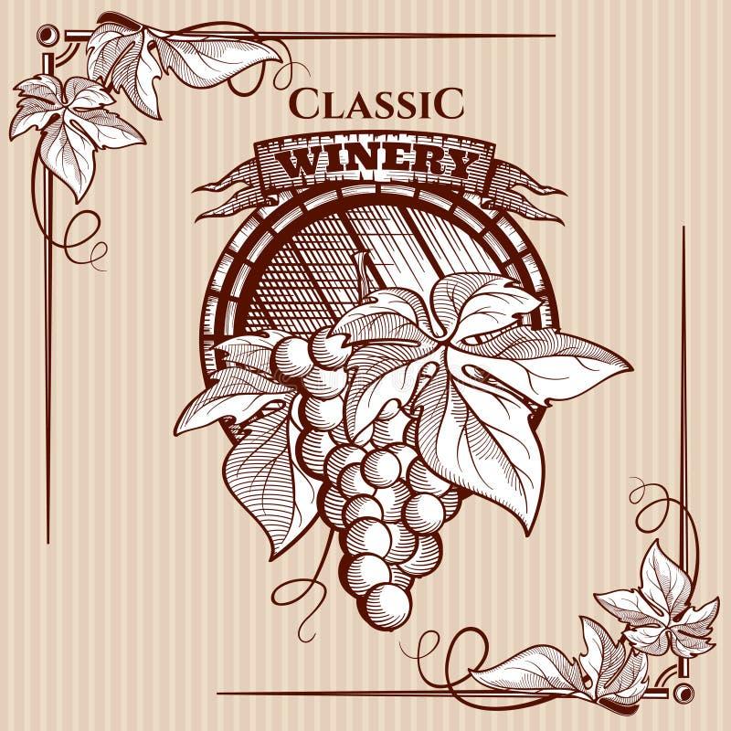 Vector grafische affiche met beeld van van de druivenbos en wijnstok elementen stock afbeelding