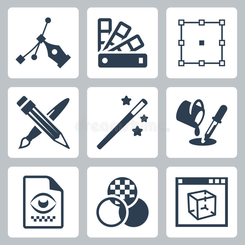 Vector grafische geplaatste ontwerppictogrammen vector illustratie