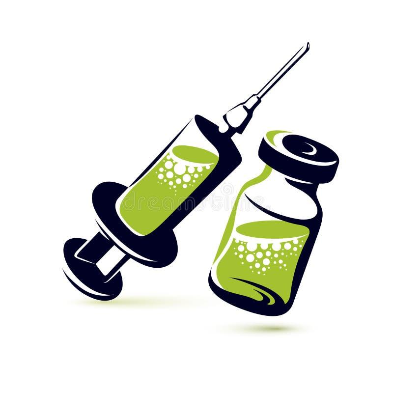 Vector grafische illustratie van flesje en medische spuit voor inje stock illustratie