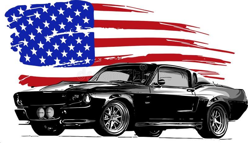 Vector grafische ontwerpillustratie van een Amerikaanse spierauto stock foto