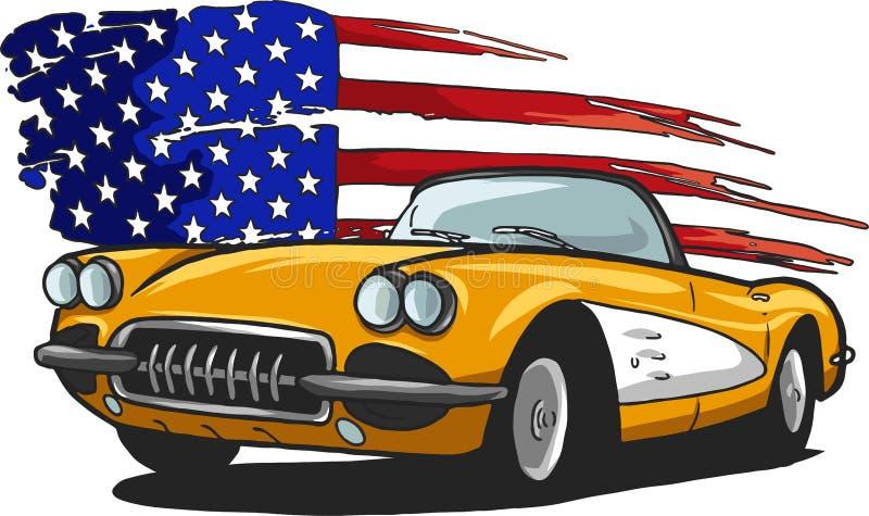 Vector grafische ontwerpillustratie van een Amerikaanse spierauto vector illustratie