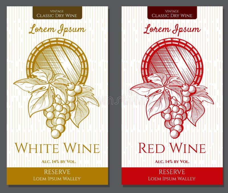 Vector grafische reeks etiketten voor witte en rode wijnen met wijnstokelementen royalty-vrije stock afbeeldingen
