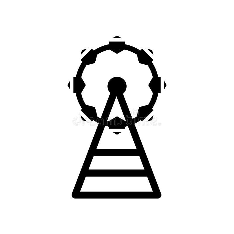Vector grande del icono de Ferris Wheel aislado en el fondo blanco, muestra grande de Ferris Wheel, símbolos de la construcción stock de ilustración