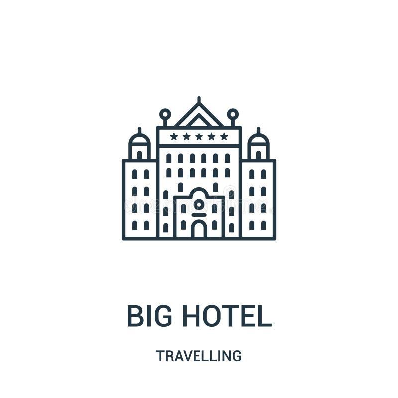 vector grande del icono del hotel de la colección que viaja Línea fina ejemplo grande del vector del icono del esquema del hotel  stock de ilustración