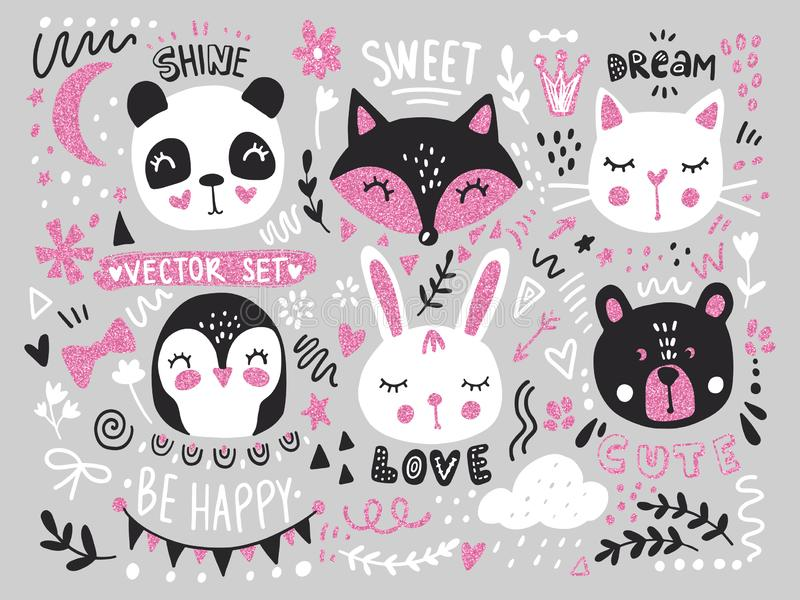 Vector grande fijado con los animales lindos de la historieta - oso, panda, conejito, pingüino, gato, zorro libre illustration
