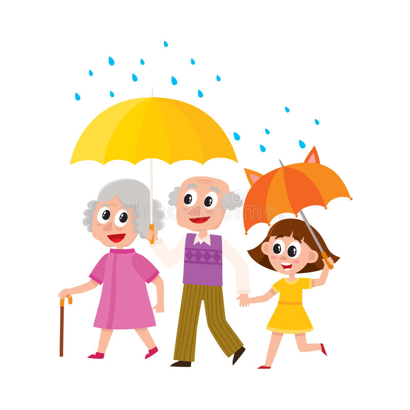 Vector grandparents and girl walk with umbrella vector illustration