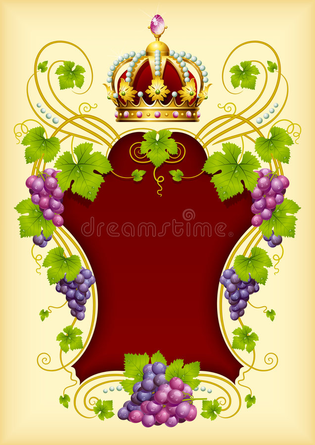 Download Vector Grape Frame With Crown Stock Vector - Image: 9352164