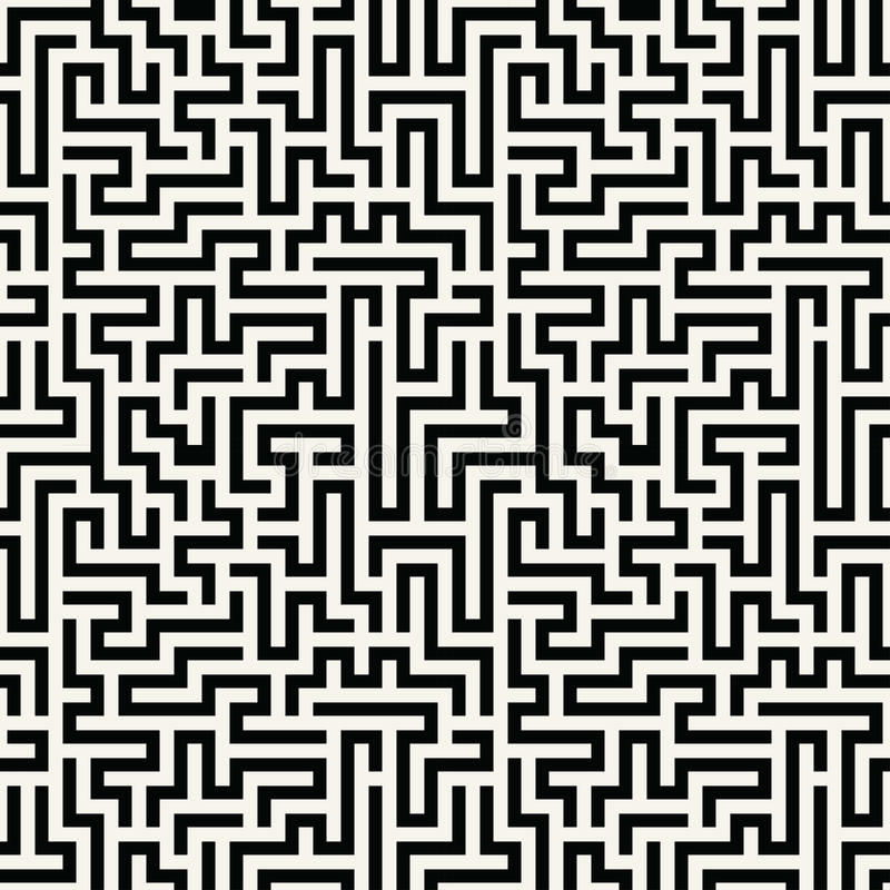 Vector graphic abstract geometry maze pattern. black and white seamless geometric background. Subtle pillow and bed sheet design. unique art deco. hipster vector illustration